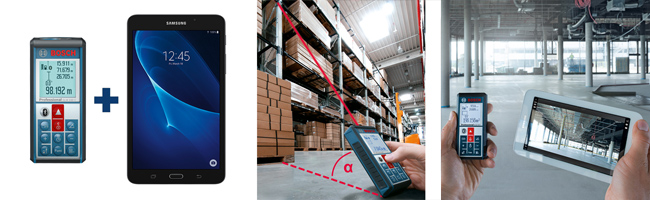 Bosch GLM100C + Samsung A7 Tablet