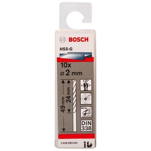 Bosch HSS-G 2mm dia Drill Bits (10 pack)