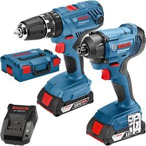 Bosch 18V GSB18V-21 Combi Drill + GDR18V-160 Impact Driver (2x 2Ah)