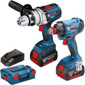 Bosch 18V Robust Set: GSB18VE-2-Li + GDX18V-180 (2x 4Ah)
