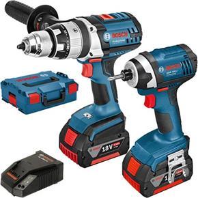 Bosch 18V Set: GSB18VE2LI Combi Drill + GDR18Li Impact Driver (2x 5Ah)