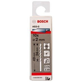 Bosch HSS-G 2mm dia Drill Bits (10 pack)