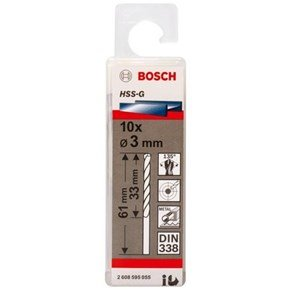 Bosch HSS-G 3mm dia Drill Bits (10 pack)