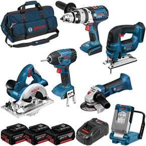 Bosch 6pc 18v Robust Kit (3x 5Ah)