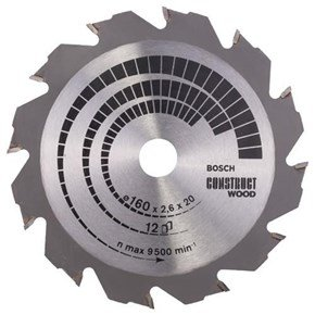 Bosch Construct Wood TCT Saw Blade 160x12x20/16mm Bore
