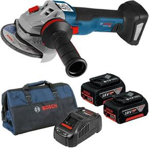 Bosch GWS18V-10C 18V 115mm Brushless Angle Grinder (2x 5Ah, Bag)