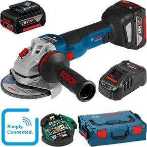 Bosch GWS18V-125SC 18V Connected 125mm Angle Grinder (2x 5Ah, GCY30-4)