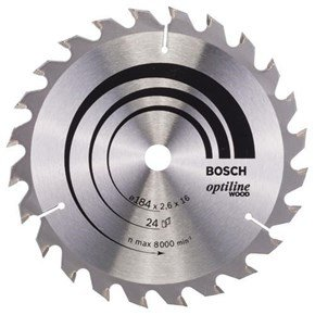 Bosch Optiline Wood TCT Saw Blade 184x24x16mm Bore