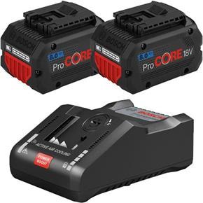 Bosch ProCORE Battery Set: 2x 18V 8Ah + GAL18V-160C Fastest Charger