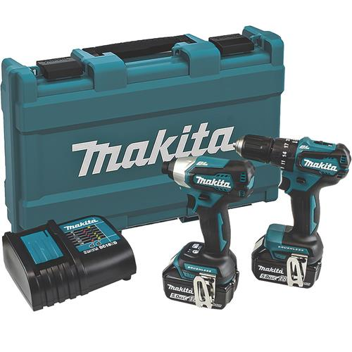 Makita DLX2221 18V Brushless Combi Drill & Impact Driver Set (2x 5Ah)