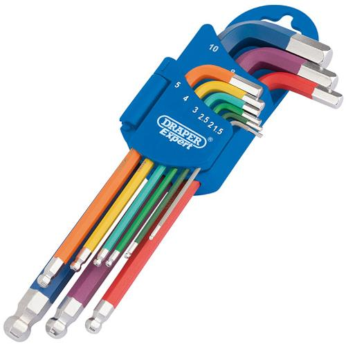 Draper Coloured Metric Ball End & Hex Key Set (9pcs)