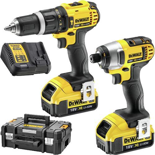 DeWalt DCZ285M2T 18V Combi Drill + Impact Driver Set (2x 4Ah)