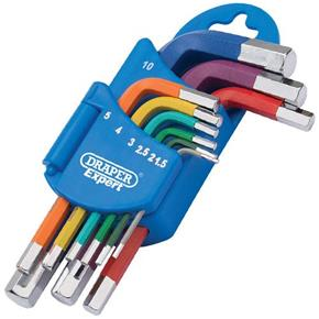 Draper Coloured Metric Short Arm Hex Key Set (9pcs)