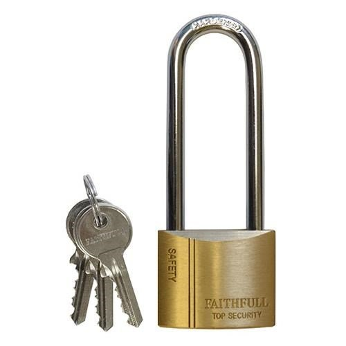 Faithfull Long Shackle Brass Padlock