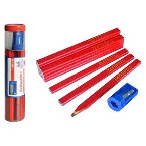 Faithfull Carpenter Pencils + Sharpener (12pk)