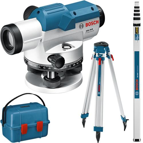 Bosch GOL20D 60m 20x Optical Level Kit with Tripod & Measuring Rod
