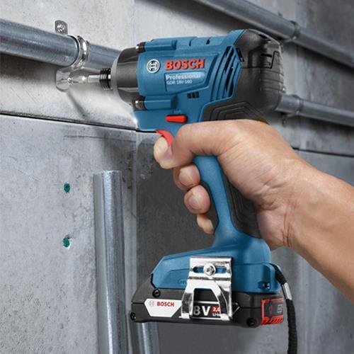 Bosch 18V GSB18V-55 Combi Drill & GDR18V-160 Impact Driver (2x 2Ah)