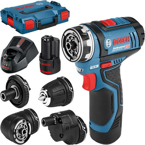 Bosch GSR 12V-15 FC 12V 5-in-1 Drill Driver Set (2x 2Ah)