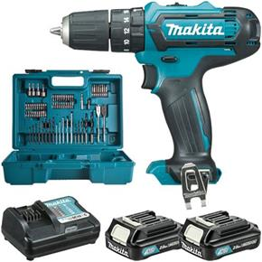 Makita HP331DWAX1 10.8V Combi Drill Set (74pc Bit Set, 2x 2Ah, Case)