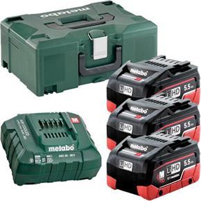 Metabo 18V Battery Kit: 3x 5.5Ah LiHD, ASC30-36V Charger + MetaLoc Box