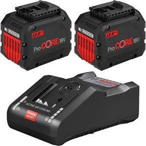 Bosch ProCore Battery Set: 2x 18V 12Ah + GAL18V-160C Fastest Charger