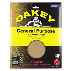Oakey Glasspaper Sheets 230mm x 280mm Coarse Grit (5pk)