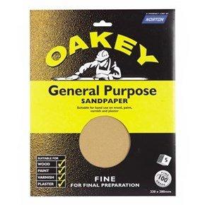 Oakey Glasspaper Sheets 230mm x 280mm Fine Grit (5pk)