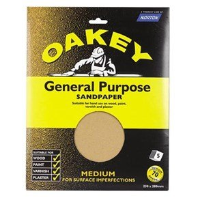 Oakey Glasspaper Sheets 230mm x 280mm Medium Grit (5pk)