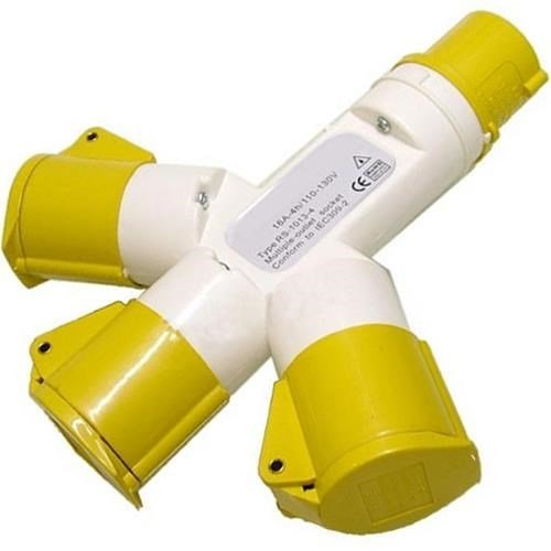 110v 16A 3-Way Splitter (Yellow)