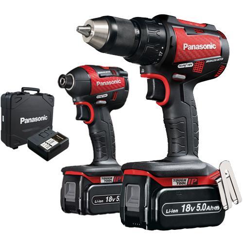 Panasonic EYC217 Red 18v Combi Drill + Impact Driver (2x 5Ah)