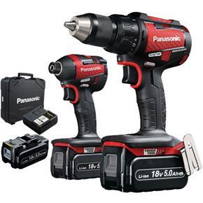 Panasonic EYC217 Red 18v Combi Drill + Impact Driver (3x 5Ah)