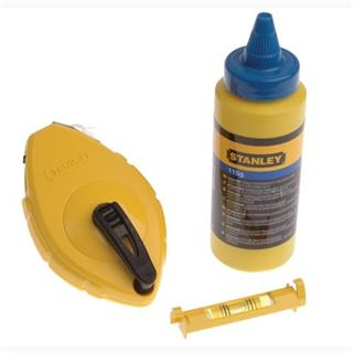 Stanley 30m Blue Chalk Line + Level