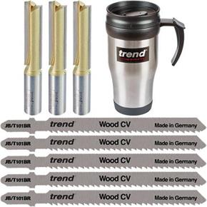 "Trend Worktop Fitting Pack: 3x 1/2"" Router Cutters + 5x Jigsaw Blades"